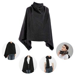 Versatile Travel Blanket Throw Wrap- FALWSIU 3 in 1 Wearable Throw Blanket Used as Wrap, Scarf,  ...