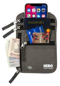 HERO Neck Wallet – RFID Blocking Passport Holder – Easy to Conceal Travel Pouch R ...