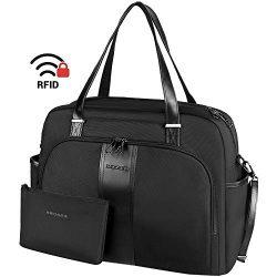 KROSER Laptop Tote Bag 15.6″ Stylish Shoulder Bag Water-Repellent Large Travel Bag with RF ...