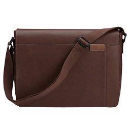 Gallaway Leather Messenger Bag – Shoulder Satchel Travel Briefcase Fits 13 15 or 17 Inch L ...