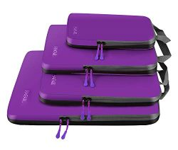 4 Set Compression Packing Cubes Travel Expandable Packing Organizers(Purple)