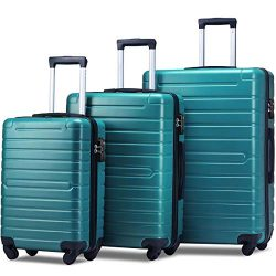 Flieks Luggage Set 3 Piece with TSA Lock Light Weight Hardside Spinner Suitcase (Green)