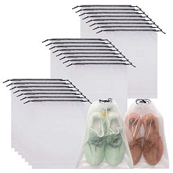 DIOMMELL Set of 24 Transparent Shoe Bags for Travel Large Clear Shoes Storage Organizers Pouch w ...