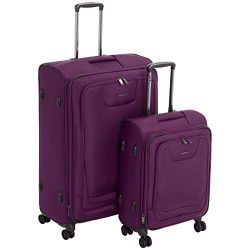 AmazonBasics 2 Piece Expandable Softside Spinner Luggage Suitcase With TSA Lock And Wheels Set & ...