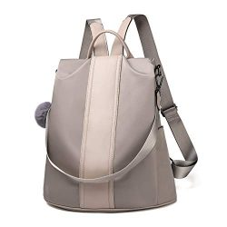 Women Backpack Purse Waterproof Nylon Anti-theft Rucksack Lightweight Shoulder Bag (Khaki Large)