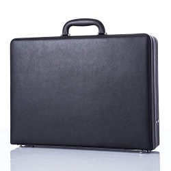 Business Leather Mens Briefcases for Travel Vintage Outlook Organized Interior Hard-sided Attach ...