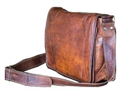 18 inch Leather Full Flap Messenger Handmade Bag Laptop Bag Satchel Bag Padded Messenger Bag Sch ...