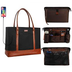 MONSTINA Laptop Tote Bag,15.6 Inch Laptop Bag for Women Teacher,Large Laptop Organizer Bag with  ...