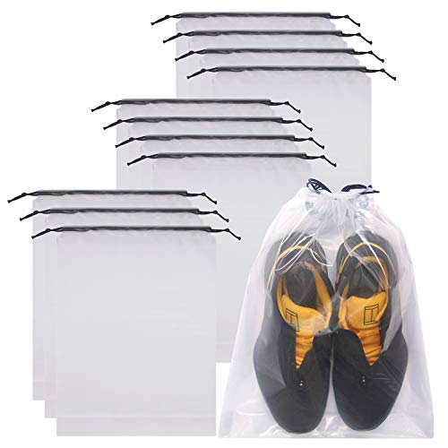 DIOMMELL Set of 12 Transparent Shoe Bags for Travel Large Clear Shoes Storage Organizers Pouch w ...