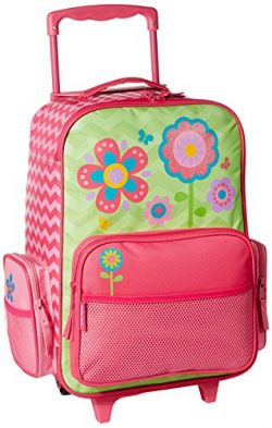Stephen Joseph Girls' Little Classic Rolling Luggage, Flower- Chevron, 14.5×8.5×18