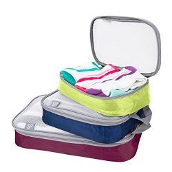 Travelon Set of 3 Lightweight Packing Organizers, Bolds