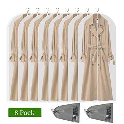 Perber Hanging Garment Bag Lightweight Clear Full Zipper Suit Bags (Set of 8) PEVA Moth-Proof Br ...
