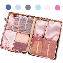 Luggage Organizers, 7 Set Packing Cubes for Travel With Shoe Bag, Compression Cells, Accessories ...