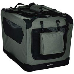 AmazonBasics Premium Folding Portable Soft Pet Dog Crate Carrier Kennel – 26 x 18 x 18 Inc ...