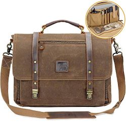 Men's Messenger Bag Vintage Genuine Leather Briefcase Shoulder Bag 15.6 Inch Waxed Canvas  ...