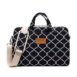 Canvaslife Black Four Petals Style Pattern Waterproof Laptop Shoulder Messenger Bag Laptop Compu ...