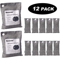 12 Pack Natural Bamboo Activated Charcoal Air Purifying Bags, Shoe Deodorizer and Odor Absorber  ...