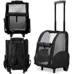 Kundu Deluxe Backpack Pet Travel Carrier with Double Wheels – Black – Approved by Mo ...