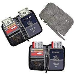 HOPAI Travel Passport Wallet, Family Passport Holder RFID Blocking Passport Wallet Ticket and Ca ...