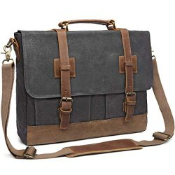Messenger Bag for Men 15.6 inch Waterproof Waxed Canvas Genuine Leather Briefcase Computer Lapto ...