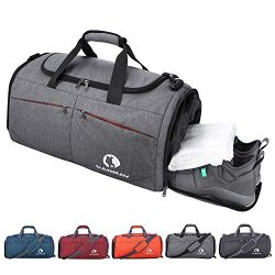 Canway Sports Gym Bag, Travel Duffel bag with Wet Pocket & Shoes Compartment for men women,  ...