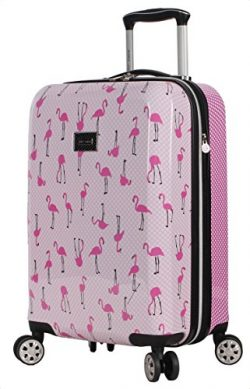 Betsey Johnson Luggage Hardside Carry On 20″ Suitcase With Spinner Wheels (20in, Flamingo  ...