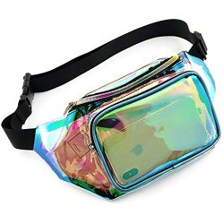 Holographic Fanny Pack, Veckle Clear Fanny Pack Shiny Neon Transparent iridescent Fanny Pack for ...