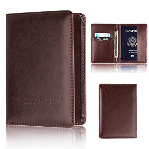 Thenlian Passport Holder Protector Wallet Business Card Soft Passport Cover (Black)