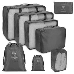 Suneed 8 Pcs Compression Packing Cubes for Travel, Foldable Travel Organizer Cubes for Suitcase  ...