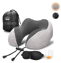 Travel Neck Pillow – Memory Foam Pillow for Airplane Travel, Soft, Breathable, Comfortable ...