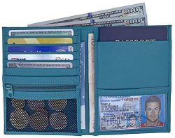 Teal RFID Blocking Genuine Leather Travel Passport Wallet Holder