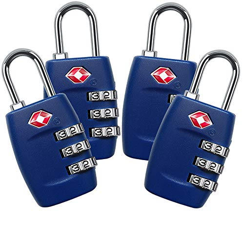 TSA Lock 4 Pack,TSA Approved Luggage Lock,3 Digit Small Combination Padlock for Travel Suitcase  ...