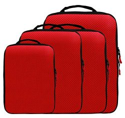 Magictodoor Dual Side Compression Packing Cubes 4 Set Luggage Organizer Red