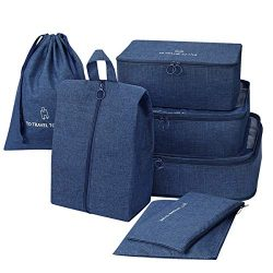 STURME Packing Cubes 7 Set Travel Luggage Organizer Bags with Shoes bag and Washing Bag (Dark Blue)