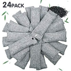 24 Pack Bamboo Charcoal Air Purifying Bag for Shoes, Natural Air Purifying Bags, Activated Charc ...