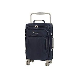 IT Luggage 22″ World's Lightest 8 Wheel Spinner, Evening Blue With Cobblestone Trim