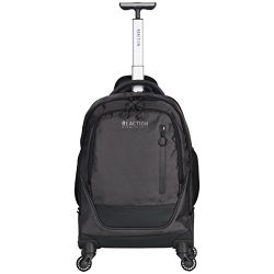 Kenneth Cole Reaction 17″ Polyester Dual Compartment 4-Wheel Laptop Backpack, Pindot Charcoal