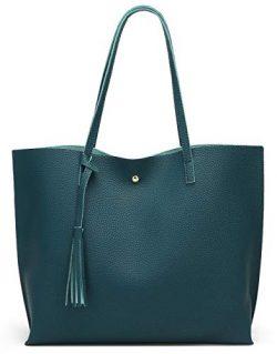 Women'S Soft Leather Tote Shoulder Bag From Dreubea, Big Capacity Tassel Handbag Dark Teal ...