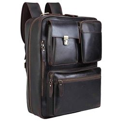 Tiding Leather Convertible Backpack 15.6 Inch Laptop Briefcase Shoulder Bag Travel Daypack for M ...