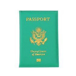 Clearance Sale!DEESEE(TM)Passport Holder Protector Wallet Business Card Soft Passport Cover (Green)