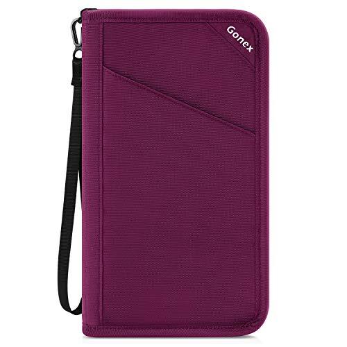Gonex Passport Holder Travel Wallet Document Holder Pouch Organizer Case RFID Blocking for Women ...