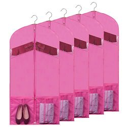 Univivi Garment Bags for Dance Costumes 54″ Foldable (5 Pack) Dance Dress Bag with 2 Zippe ...