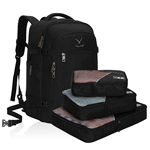 Hynes Eagle Travel Backpack 40L Flight Approved Carry on Backpack, Black with 3PCS Packing Cubes ...
