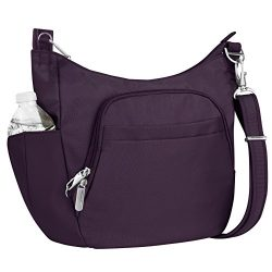 Travelon Anti-Theft Cross-Body Bucket Bag, Purple