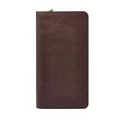 Fossil Leather Passport Case, Multi Zip Passport – Dark Brown