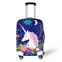 OSVINO Cartoon Cute Unicorn Durable Washable Travel Luggage Suitcase Protector, Unicorn E, M: Fo ...