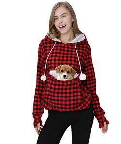 Womens Hoodie Pet Carrier Sweatshirt Kitten Puppy Holder Pouch Tops Shirts 4XL Red