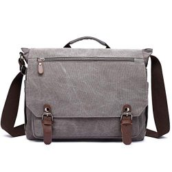 Gimay 15 inch Laptop Messenger Bag Canvas Briefcase Computer Bag (Grey)
