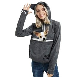 Womens Pet Carrier Shirts Kitten Puppy Holder Animal Pouch Hood Sweatshirt 3XL Dark Grey