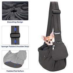 SlowTon Pet Sling Carrier, Comfortable Hard Bottom Support Small Dog Papoose Sling Adjustable Pa ...